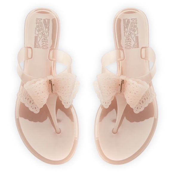 26f16d119c6 Salvatore Ferragamo pansy jelly logo bow sandals. M 5c38fc84aa8770d274e75692